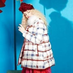 ELF SACK - Plaid A-Line Down Coat
