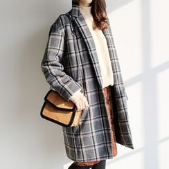 WITH IPUN - Wool Blend Check Coat