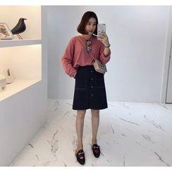 Miamasvin - Buttoned Stitched Midi Skirt