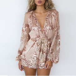 Charlotte - Long-Sleeve V-Neck Drawstring Sequined Playsuit