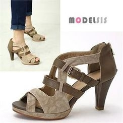 MODELSIS - Genuine Leather Strap Sandals