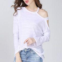 Isadora - Cutout Shoulder Long-Sleeve T-Shirt
