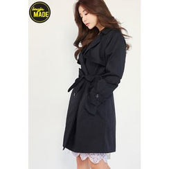 BONGJA SHOP - Dual-Breasted Trench Jacket with Sash