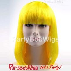 Party Wigs - PartyBobWigs - Party Medium Bob Wig - Neon Yellow