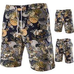Hansel - Print Drawstring Waist Shorts