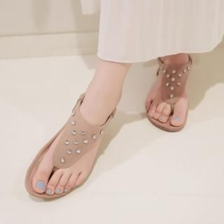 Pangmama - Rhinestone Thong Sandals