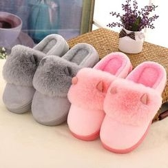 JY Shoes - Furry Trim Slippers