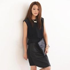 SO Central - Faux Leather Panel Sleeveless Top (Belt not Included)