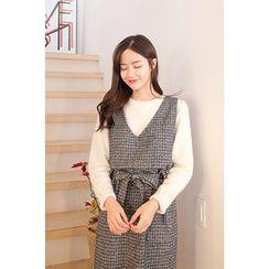 CHERRYKOKO - Sleeveless Wool Blend Check Dress with Sash