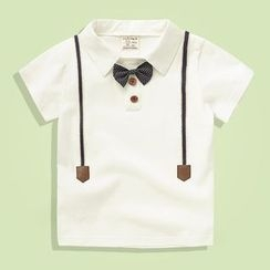 lalalove - Kids Bow Detail Short-Sleeve Polo Shirt