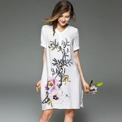 Queen Mulock - Short-Sleeve Floral Dress