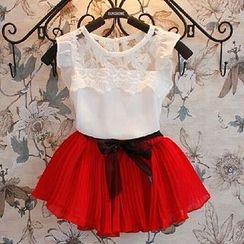Clara - Kids Set: Lace Panel Top + Chiffon Skirt