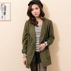 Lucky Leaf - Hooded Drawstring-Waist Trench Coat