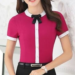 Caroe - Bow Piped Short-Sleeve Blouse