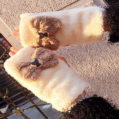 Hats 'n' Tales - Furry Bow Knit Gloves