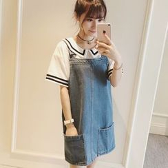 Colorful Shop - Pocket-Accent Denim Jumper Dress