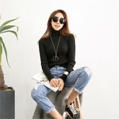 PIPPIN - Turtleneck Rib Knit Top