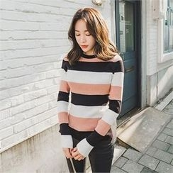 ERANZI - Crew-Neck Striped Rib-Knit Top