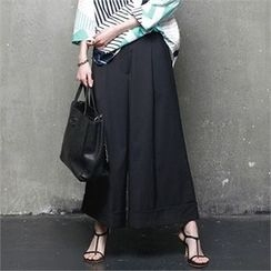 HALUMAYBE - Cuffed-Hem Wide-Leg Pants