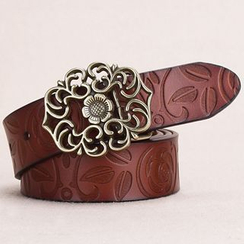 BAIEKU - Embossed Genuine Leather Belt