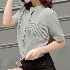 Falaso - Short Sleeve Pintuck Chiffon Shirt