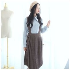 Sens Collection - Plaid Accordion Pleat Jumper Skirt
