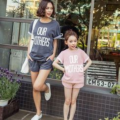 Cuckoo - Family Matching Set: Lettering Short Sleeve T-Shirt + Shorts