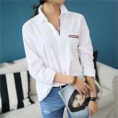 CHICFOX - Striped-Trim Cotton Shirt