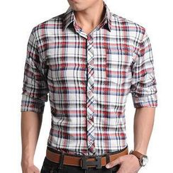 JIBOVILLE - Long-Sleeve Plaid Shirt