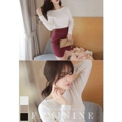 MyFiona - Boat-Neck Slim-Fit Knit Top