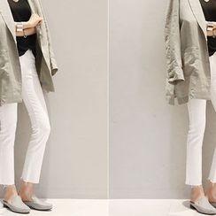 NANING9 - Fray-Hem Straight-Cut Pants