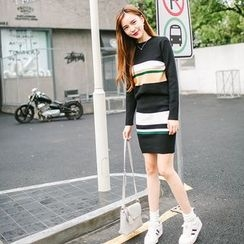ZIZI - Set : Stripe Knit Top + Skirt