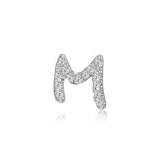 MBLife.com - Left Right Accessory - 9K White Gold Initial 'M' Pave Diamond Single Stud Earring (0.03cttw)