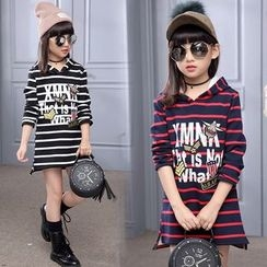 Pegasus - Kids Letter Stripe Hooded Dress