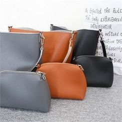 PINKSISLY - Faux-Leather Color-Block Shoulder Bag with Pouch