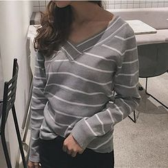Cloud Nine - V-neck Off-shoulder Stripe Knit Top