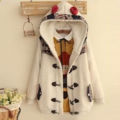 Angel Love - Patterned Applique Hooded Duffle Coat