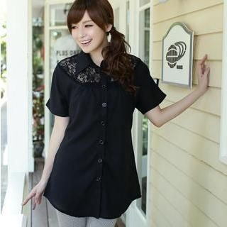 TANGYIZI - Loose-Fit Lace-Panel Long Blouse