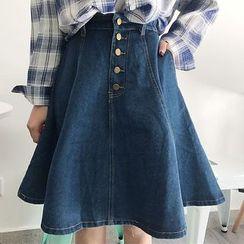Cloud Nine - Buttoned Denim Skirt
