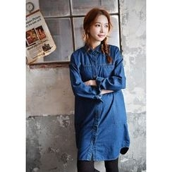 GOROKE - Round-Hem Stitched Denim Shirtdress