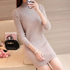 Ageha - Long-Sleeve Knit Sheath Dress
