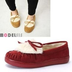 MODELSIS - Faux-Fur Ribbon-Accent Moccasins
