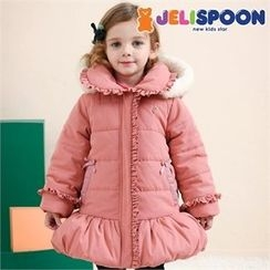 JELISPOON - Girls Faux-Fur Hood Frill-Detail Padded Coat