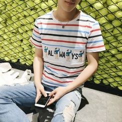 ZZP HOMME - Applique Stripe Short-Sleeve T-Shirt
