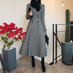 DABAGIRL - Peaked-Lapel Mélange Wool Blend A-Line Maxi Coat