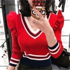 LIPHOP - Frill-Trim V-Neck Knit Top