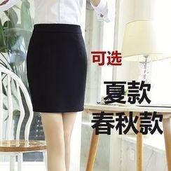 潞依韓 - 包臀純色裙