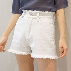 Dute - Frayed Hem High Waist Denim Shorts