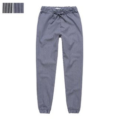 DANGOON - Drawstring-Waist Stripe Pants