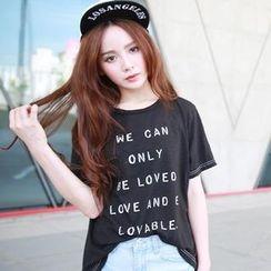 rico - Short-Sleeve Lettering T-Shirt